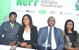 L-R: Director, Services/Chief Information Officer, Heritage Bank Plc, Ike Williams; Executive Director, Technology and Operations, NIBSS Plc, Christabel Onyejekwe; Chairman, Nigeria Electronic Fraud Forum (NeFF), Dipo Fatokun and Director, Other Institutions Dept, CBN, Tokunbo Martins, at the sponsored 1st Annual General Meeting of NeFF at Federal Palace Hotel, Victoria Island, Lagos…yesterday