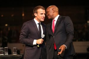 The President of the French Republic, Mr. Emmanuel Macron discussing with the Founder, Tony Elumelu Foundation  and Chairman, UBA Group, Mr. Tony O. Elumelu during an interactive session hosted by the  Tony Elumelu Foundation for President Macron and young African entrepreneurs in Lagos on Wednesday.