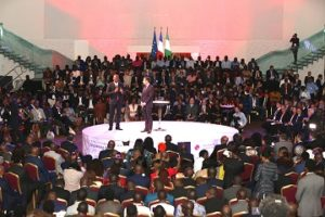 The President of the French Republic, Mr. Emmanuel Macron and the Founder, Tony Elumelu Foundation  and Chairman, UBA Group, Mr. Tony O. Elumelu addressing young African Entrepreneurs at the interactive session hosted by the  Tony Elumelu Foundation for President Macron and young African entrepreneurs in Lagos on Wednesday.