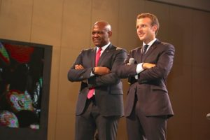 The President of the French Republic, Mr. Emmanuel Macron and Founder, Tony Elumelu Foundation and Chairman of UBA Group, Mr. Tony O. Elumelu listening to an entrepreneur at the interactive session with President Macron and young African entrepreneurs hosted by the Tony Elumelu Foundation, in Lagos on Wednesday.