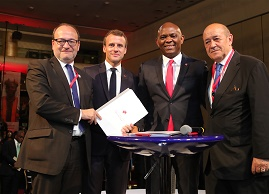 The President of the French Republic, Mr. Emmanuel Macron (2nd left); Founder, The Tony Elumelu Foundation and Chairman, UBA Group, Mr. Tony O. Elumelu (3rd left); Chief Executive Officer, French Development Agency(AFD), Mr. Remy Rioux(left); and French Foreign Affairs Minister, Mr Jean-Yves Le Drian, during the signing of a $10 million research partnership agreement  to support TEF Entrepreneurs by the French Development Agency , held at the  sideline of the  interactive session hosted by the Tony Elumelu Foundation for President Macron and  young African entrepreneurs in Lagos on Wednesday.