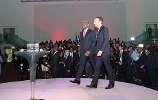 The President of the French Republic, Mr. Emmanuel Macron and the Founder, Tony Elumelu Foundation  and Chairman, UBA Group, Mr. Tony O. Elumelu at the interactive session hosted by the  Tony Elumelu Foundation in Lagos on Wednesday.