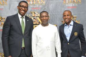 L-R HEAD OF CHIGITAL BANK HERITAGE BANK PLF CHIBUIKUE AGU; EXECUTIVE DIRECTOR, NEXT TITAN TV SHOW, MIDDLE KUNLE-AKINLAYA; AND COPORATE COMMUNICATION MANAGER , AIR PEACE, CHRIS IWARAH , AT THE INAUGURATION OF 800 PARTICIPANT IN THE NEXT TITAN SEASONS 5 TV REALITY SHOW IN LAGOS... ON THURSDAY.