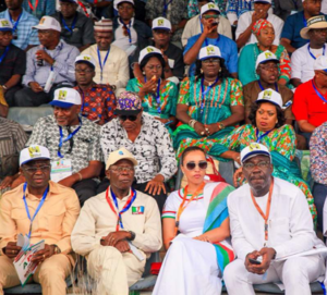 R-L: Edo State Governor, Mr Godwin Obaseki; wife of the National Chairman, All Progressives Congress (APC), Mrs Lara Oshiomhole; National Chairman of APC, Comrade Adams Oshiomhole; and the Edo State Deputy Governor, Rt. Hon. Philip Shaibu, at the APC National Convention in Abuja at the weekend.