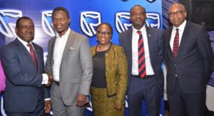 L-R: Chief Executive, Stanbic IBTC Bank, Dr Demola Sogunle; Guest Speaker, Boye Ademola; Country Head , Human Capital, Stanbic IBTC, Olufunke Amobi; Executive Director, Personal & Business Banking, Stanbic IBTC Bank, Mr. Babatunde Macaulay; and Group Chief, Human Resources, Dangote Group, Usen Udoh; at the Stanbic IBTC Bank PLC 2018 Work Place Banking Seminar in Lagos recently…