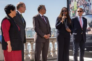 L-R:  Deputy CEO, Gavi, The Vaccine Alliance, Anuradha Gupta; Director, Division of Administration, United Nations, Clemens Adams; Director General, World Health Organisation (WHO), Dr Tedros Adhanom Ghebreyesus; GAVI Champion for Africa & Founder, Avon Medical, Dr Awele Elumelu and CEO, GAVI, The Vaccine Alliance, Dr Seth Berkley, at a conference to champion increased vaccine coverage, targeting underimmunised nations, in Geneva on Tuesday
