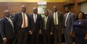 L-R: Jude Monye, Executive Director, Heritage Bank Plc; Felix Ejinwa, Head, Credit Review and Monitoring, Risk Management, Keystone Bank;  Aliyu Abduhameed, MD/CEO of NIRSAL; Dike Dimiri, Divisional Head, Enterprise Risk Management; Olugbenga Awe, Group Head, Agric Finance & Export; Adelana Ogunjirin, Team Member, Agric Finance & Export and Joyce Omotosho, Ag Group Head, Credit Risk Management, all of Heritage Bank Plc, during the 2018 Chief Risk Officers Forum Retreat organized by the Nigeria Incentive-Based Risk Sharing System for Agricultural Lending (NIRSAL) in Lagos, yesterday.