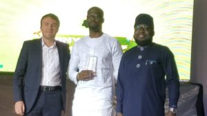 L-R: Delegate of the Regional Economic Advisor, French Embassy, William Levasseur; representative of the MD/CEO of Heritage Bank Plc, Ifie Sekibo; Jubril Adeojo, Team Lead, Power Corporate Banking and the Chairman of the NYPF, Moses Siloko Siasia, when Heritage Bank Plc was awarded for its Outstanding Contributions toward improving the lives of Young Business Owners in Nigeria at the 5th Anniversary Ceremony of the highly-rated Nigerian Young Professionals Forum (NYPF) Awards for 2018, in Abuja yesterday.