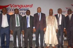 L-R: Dr. Peter Ozo-Eson, General Secretary, NLC; Ifie Sekibo, Managing Director, Heritage Bank; Mr. Muda Yusuf, DG, Lagos Chamber of Commerce and Industry; Mr. Fola Adeola, Founder/ Chairman, FATE Foundation; Chairman/ A Former Minister, National Planning, Dr. Shamsuddeen Usman; Dr. Doyin Salami, Economists, LBS and Mr. Gbenga Adefaye, General Manager/ Editor-in-Chief, Vanguard Newspapers, at the Vanguard Economic Discourse in Lagos... on Thursday. Photo: Heritage Bank