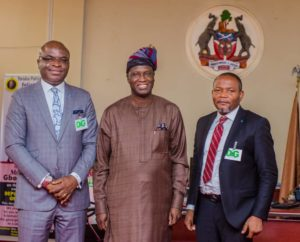 (L-R) Regional Bank Head,  Keystone Bank Limited, Mr. Olaniran Olayinka; the Deputy Governor, State of Osun, Chief Benedict Alabi; and Divisional Head, West, Keystone Bank Limited, Mr Ademola Adeyemi; during a courtesy visit by the management of Keystone Bank to the State of Osun Deputy Governor in his office at Osogbo, on Wednesday.