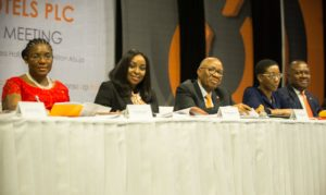 l-r: r-l: Executive Director, Transcorp Hotels Plc,  Ms Okaima Ohizua; Managing Director/CEO, Mrs Owen Omogiafo; Chairman, Mr. Emanuel Nnorom; Company Secretary, Ms Helen Iwuchukwu; and Director/President of Transcorp Plc, Mr. Valentine Ozigbo, at the 5th Annual General Meeting of the company held at Transcorp Hilton Hotels Abuja on Friday