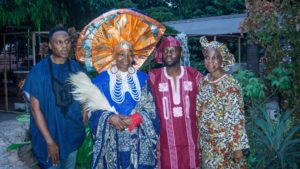L-R Ade Bakare, Founder, Ade Bakare Couture, UK; Chief Mrs Nike Okundaye, Founder, Nike Art Foundation and Curator General, Nike Art Gallery; Olutayo Irantiola, Atokun, Yoruba Lakotun and Ms Iyabode Aboaba, Chief Operations Officer (COO), Freedom Park during Yoruba Lakotun in commemoration of the International Women's Day held at Freedom Park over the weekend