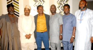 …L-R: Member, Board of Trustee (BOT), Magodo Residents Association, Chief Akinbiyi Akinsete; Project Secretary, Magodo Residents Association Phase 2, Olajide Oduyoye; Chairman, Mr. Jade Niboro; Regional Head, Lagos Island, Heritage Bank, Mr. Abiodun Agbaje; Financial Secretary, Mr. Yoni Akinyemi and Security Secretary, Mohammed Sadiq, during the Magodo Cultural Day 2019 Dinner, by Magodo Residents Association phase 2, in Lagos.
