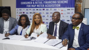 L-R: Head, Personal Banking, Wema Bank Plc - Mr. Abiola Afolayan; Chairman, Mojec International Limited, Mrs Mojisola Abdul; Managing Director, Mojec International Limited, Ms. Chantelle Abdul; Executive Director, Corporate Bank & South Directorate, Keystone Bank Limited, Yemi Odusanya and Group Head, Retail & SME, Unity Bank Plc, Mr. Olufunwa Olugbenga Akinmade at a press conference and signing of the Memorandum of Understanding ceremony between Mojec and the partner banks on the roll out of prepaid meters, held in Lagos on Monday, April 15, 2019.