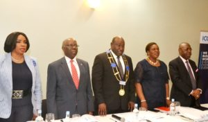L–R: Honorary Treasurer, International Chamber of Commerce Nigeria (ICCN), Mrs. Dorothy Ufot; Chairman Emeritus, Dr. Olusegun Osunkeye; Chairman, Babatunde Savage; Secretary General, Mrs. Olubunmi Osuntuyi and Vice Chairman, Dr. Raymond Ihyembe, at the company's Annual General Meeting held at Southern Sun, Ikoyi, Lagos…on Thursday