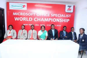 Branch Manager, Zenith Bank Plc, Mr. Imade Efosa (fourth from right), flanked from left by Angel Anikpe, Udonsak Ubongabasi and Nwachukwu Daniel, all of Faith Academy, Canaanland, Ota; Mrs Edna Agusto, Founder ReadManna Empowerment Initiative; Shawn Laah of Regent Secondary School, Abuja; Ayomide Abiodun and Pwahatado Vawe, both of Aduvie International School, Abuja at the public presentation of the winners of the Zenith Bank sponsored 2019 Microsoft Office Specialist World Championship.