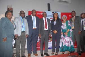 Coordinator, Banking and Finance Department, Lagos State University(LASU), Dr. Mrs Oluitan; Registrar, LASU, Mr Yinka Asuni; Deputy Vice-Chancellor, Prof. Oyedamola Oke; Regional Director, UBA Plc, Ms Emem Usoro; Librarian, LASU,  Mrs Aderonke Bello; Dean, Faculty of Management Science, LASU, Professor Tunde Yusuf;  and Member Planning Committee, Faculty of Management Annual Lecture,  Dr JK Obaro at the 2019 Annual Guest Lecture of the Faculty of Management Sciences (FMS) held yesterday held at the University campus in Ojo on Wednesday