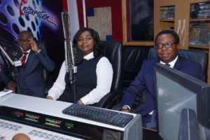 L-R: Divisional Head, Managed SMEs, Fidelity Bank Plc, Osaigbovo Omorogbe; Executive Director, Shared Services & Products, Fidelity Bank Plc, Chijioke Ugochukwu; Partner, PWC Experience Centre and Emerging Technologies, Femi Osinubi at the Fidelity SME Radio Forum held at Inspiration FM in Lagos on Tuesday to create publicity ahead of the forthcoming Fidelity SME Funding Connect.