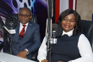 L-R: Divisional Head, Managed SMEs, Fidelity Bank Plc, Osaigbovo Omorogbe and Executive Director, Shared Services & Products, Fidelity Bank Plc, Chijioke Ugochukwu at the Fidelity SME Radio Forum held at Inspiration FM in Lagos on Tuesday to create publicity ahead of the forthcoming Fidelity SME Funding Connect.