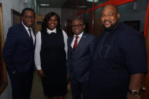 L-R: Partner, PWC Experience Centre and Emerging Technologies, Femi Osinubi; Executive Director, Shared Services & Products, Fidelity Bank Plc, Chijioke Ugochukwu; Divisional Head, Managed SMEs, Fidelity Bank Plc, Osaigbovo Omorogbe; Group General Manager, Inspiration Radio Group Nigeria, Azubike Osumili at the Fidelity SME Radio Forum held at Inspiration FM in Lagos on Tuesday to create publicity ahead of the forthcoming Fidelity SME Funding Connect.