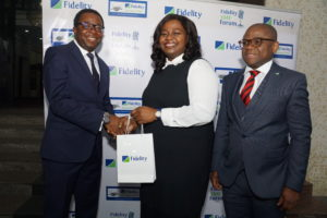 L-R: Partner, PWC experience centre and Emerging Technologies, Femi Osinubi; Executive Director, Shared Services & Products, Fidelity Bank Plc, Chijioke Ugochukwu; Divisional Head, Managed SMEs, Fidelity Bank Plc, Osaigbovo Omorogbe; at the Fidelity SME Radio Forum held at Inspiration FM in Lagos on Tuesday to create publicity ahead of the forthcoming Fidelity SME Funding Connect.
