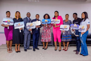 L-R: Edinyanga Enang, Head, Internal Communications, Keystone Bank Limited; Mrs Omobolanle Osotule, Divisional Head, Marketing & Corporate communications, Keystone Bank Limited;  Joshua Akinbanjo, AMD/Ag. COO, The Creative Council Nigeria; Muyi Olaitan, CEO NWABrandeo; Funke Akindele Bello, Keystone Bank Brand Ambassador; Kenny Olayinka, Creative Director, PKLAMOUR Group; Olubukola Ogunwale, CEO, The Business Coach Nigeria; Daniel Chinagozie, Founder Innovation Growth Hubs and Izore Bamawo, Head, Corporate Social Responsibility & Sustainability, Keystone Bank Limited at Keystone Bank 'Spark Up Your Brand' programme, held in Victoria Island, Lagos... recently