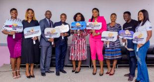 L-R: Edinyanga Enang, Head, Internal Communications, Keystone Bank Limited; Mrs Omobolanle Osotule, Divisional Head, Marketing & Corporate communications, Keystone Bank Limited;  Joshua Akinbanjo, AMD/Ag. COO, The Creative Council Nigeria; Muyi Olaitan, CEO NWABrandeo; Funke Akindele Bello, Keystone Bank Brand Ambassador; Kenny Olayinka, Creative Director, PKLAMOUR Group; Olubukola Ogunwale, CEO, The Business Coach Nigeria; Daniel Chinagozie, Founder Innovation Growth Hubs and Izore Bamawo, Head, Corporate Social Responsibility & Sustainability, Keystone Bank Limited at Keystone Bank 'Spark Up Your Brand' programme, held in Victoria Island, Lagos... recently