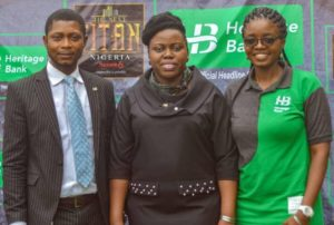 L-R: Members of Heritage Bank's Corporate Communications- John Adah, Processing Officer; Ozena Utulu, Head, Brand Management & Sustainability and Daberechi Ike-Obioha, Team Member, Designs & Creatives, during The Next Titan Season-six audition at the Sheba Event Centre in Lagos.