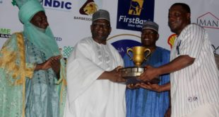 District  Head  of  Makera, Alhaji Shehu  Tijani; Chief Executive Officer, FirstBank,  Dr. Adesola Adeduntan; President,  Kaduna  Polo Club,  Alhaji Suleman  Abubakar  and Captain of El-Amin (winners of the 2018 Georgian Cup)  Mohammed  Babangida at  the 2018 Kaduna Polo Club Tournament.