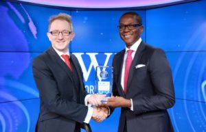 Idowu Thompson, Group Head, Private Banking, First Bank of Nigeria Limited, receiving the Best Private Bank in Nigeria award on behalf of FirstBank from Paul Richardson of World Finance at the London Stock Exchange Studios...recently.