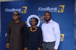 L-R: Ismail Omamegbe, Head, CR&S and Media & External Relations, FirstBank; Adeola Asabia, Member, Board of Trustees, Samuel Asabia Chair, Business Ethics, University of Lagos, FirstBank Endowment Programme; Banji Fehintola (CFA), President, CFA Society Nigeria at the regional level of the 2019 Ethics Challenge held in Lagos