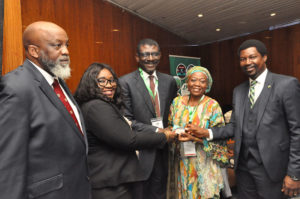 R-L: Team Lead, Agric Finance and Export Heritage Bank, Mr Adelana Ogunjirin; Dr. Hadiza Gado; Managing Director /Chief Executive of Nigeria Export -Import Bank (NEXIM ) Mr Abba Bello; Managing Director Dukia Gold, Bose Owolabi  and Mr Tunde Fagbemi during NCIS Summit 2019 – Mining Master Class held at Transcorp Hotel Abuja