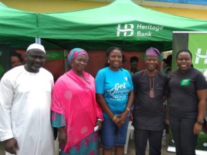 L-R: Secretary to the Local Government, Surulere, Comrade Hakeem Dauda; Supervisor for Women Affairs & Poverty Alleviation, Adenike Yusuf; President/Convener Prime women Builders Foundation of Nigeria (PWOBFON), Adekemi Olofunkua; Vice Chairman, Ikeja Local Government Development Council, Yomi Mayungba and Head, Brand Management & Sustainability, Heritage Bank Plc, Ozena Utulu, during the graduation ceremony/ certificate award ceremony held at  Ikeja Local Government headquarters.