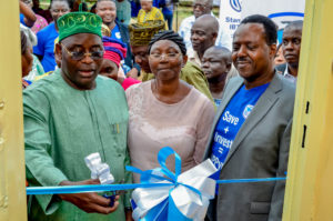 L – R: Member, Lagos State House of Assembly, Mushin Constituency 1, Hon. Olayiwola Olawale; Manager, Ladipo Primary School, Mrs Onireti Folasade and Chief Executive, Stanbic IBTC Pension Managers, Mr. Eric Fajemisin; at the handover of a renovated block of classrooms by Stanbic IBTC Pension Managers Ltd., at Ladipo Primary School, Mushin, Lagos, recently