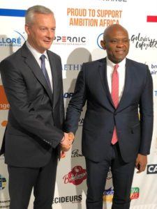 Tony O. Elumelu, CON, Founder, Tony Elumelu Foundation and Chairman, United Bank for Africa (UBA) with Bruno Le Maire, French Minister of Economy and Finance at the Invest for Growth in Africa Conference in France on October 30, 2019