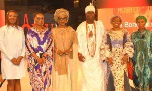 L-R: Brands Strategy and Special Projects, First Bank of Nigeria Limited, Abimbola Meshinoye; Wife of Ogun State Governor, Bamidele Abiodun; wife of Kwara State Governor,  Olufolake Abdulrazaq;  Ooni of Ife, Oba Adeyeye Enitan Ogunwusi; wife of Ekiti State Governor, Erelu Bisi Fayemi and the Convener/Founder, Africa Fashion Week Nigeria, Princess Ronke Ademiluyi, at the Africa Fashion Week Nigeria sponsored by FirstBank in Lagos.
