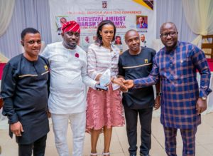 l-r: Former President, Brand Journalists' Association of Nigeria, Mr Goddie Ofose; Managing Director/CEO Modion Communications, Mr. Odion Aleobua; Chief Executive Officer, UBA Foundation & Group Head, Corporate Communications, United Bank for Africa, Bola Atta; President Brand Journalist Association, of Nigeria, Mr Princewill Ekwujuru and  Chief Press Secretary to the Governor, Lagos State, Mr. Gboyega Akosile during award presentation to UBA for best institution in support of Education(CSR) 2019 and Bola Atta, as the top Corporate Affairs professional 2019 to UBA at the 7th Annual Brands & Marketing  Conference 2019 in Lagos, recently