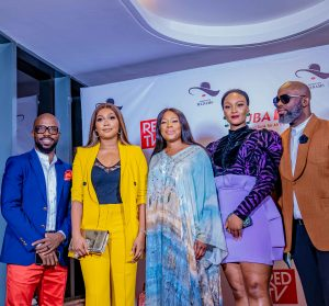 l-r: Executive Director, Urban Vision Akins Akinkugbe; Actress, Tana Adelana; Chief Executive Officer, Ebony Life, Mo Abudu; Actress, Osas Ighodaro; Executive Producer/CEO, Urban Vision, Tola Odunsi, during the Premiere of REDTV Series, Assistant Madams in Lagos yesterday