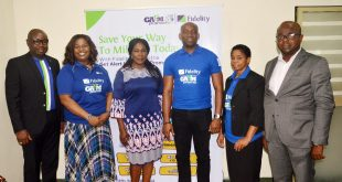 L-R: Head, Savings, Fidelity Bank Plc, Janet Nnabuko; Divisional Head, Brand & Communications, Fidelity Bank Plc, Charles Aigbe; Executive Director, Shared Services & Products, Fidelity Bank Plc, Chijioke Ugochukwu; Regional Bank Head (RBH), Lagos Island, Fidelity Bank Plc, Obiajulu Okafor; Head, Lagos Office, Consumer Protection Council (CPC), Sussie Onwuka; during the third monthly draw of the Get Alert in Millions (GAIM) promo season 4 in Lagos on Tuesday.