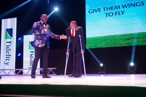"""MD/CEO, Fidelity Bank PLC with the  """"World's Greatest Maths"""" Teacher, Michael Sowunmi"""
