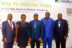 L-R: Regional Bank Head, Apapa, Fidelity Bank Plc, Jude Monye; Head, Lagos Office, Federal Competition and Consumer Protection Commission; Suzie Onwuka; Divisional Head, Operations, Fidelity Bank Plc, & Vice Chairman, Get Alert in Millions Season 4 (GAIM 4) Promo Committee, Martins Izuogbe; Senior Accountant, National Lottery Regulatory Commission (NLRC), Uche Nebolisa; Divisional Head, Retail Banking, Fidelity Bank Plc, Richard Madiebo at the 2nd Bi-monthly / 4th monthly draw of Get Alert in Millions Promo Season 4 (GAIM 4) in Lagos recently.