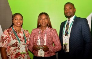 L-R: Group Head, Corporate Banking Group (Energy), Oluwatoyin Aina; Group Executive, Energy & Infrastructure, CBG, FirstBank, Bashirat Odunewu and Business Manager, CBG, Stephen Oshai following the award of Oil and Gas Banker of the Year 2019 to First Bank of Nigeria Limited at the Nigeria International Petroleum Summit held in Abuja.