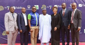 L-R: The Regional Operations Services Supervisor (ROSS) North-West 2, Fidelity Bank Plc, Shaba Mohammed; Branch Leader, Birnin Kebbi, Fidelity Bank Plc, Musa Isa; Head Recruitment, CSR & Sustainability, Fidelity Bank Plc, Chris Nnakwe; Commissioner of Youth & Sport Development, Sokoto State, Aminu Bala Bodinga; Founder/CEO, Gazelle Academy, Muna Onuzo; Regional Bank Head (RBH), North-West 2, Fidelity Bank Plc, Salihu Jibrin;  and Branch Leader (BL), Sokoto, Fidelity Bank Plc, Bello Aliyu, at the opening ceremony of the Fidelity Youth Empowerment Programme (YEA 7) for undergraduates and other selected participants Sokoto State University… Monday held in Sokoto State... Monday