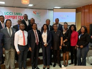 Helen Nwelle, Group Head, MSME & Value Chain Management of Keystone Bank Limited with executives of the Lagos Chambers of Commerce and Industry (LCCI) and other Business Consultants, at the launch of the LCCI SME Support Centre, in Lagos, recently.