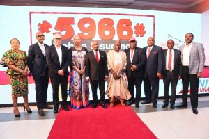 Mr. Jim Ovia, CON, Chairman, Prudential Zenith Life (5th Left) flanked by Onyinye Ikenna-Emeka, GM, Enterprise Marketing, MTN Nigeria (1st Left); Ajibola Olabisi Bankole, Deputy Director (Inspectorate), NAICOM (2nd Left); Mazen Mroue, Chief Operating Officer, MTN Nigeria (3rd Left); Lynda Saint-Nwafor, Chief Enterprise Business Officer, MTN Nigeria (4th Left); Alhaji Mohammed C. Babajika, Director, Licensing and Authorization, NCC (5th Right); Professor Oyewusi Ibidapo-Obe, Former Vice Chancellor, University of Lagos (4th Right); Kehinde Borisade, CEO, Zenith General Insurance (3rd Right); Chuks Igumbor, MD, Prudential Zenith life Insurance (2nd Right); and Olubayo Adekanmbi, Chief Transformation Officer, MTN Nigeria (1st Right) at the launch of the first ever mobile insurance service in Nigeria by Zenith General Insurance at the Civic Centre, Lagos on Wednesday, March 18, 2020.