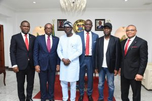 L-R: Executive Director, Zenith Bank Plc, Mr. Henry Oroh; Group Managing Director/Chief Executive, Zenith Bank, Mr. Ebenezer Onyeagwu; Lagos State Governor, Mr. Babajide Sanwo-Olu; Executive Director, Zenith Bank, Dr. Temitope Fasoranti; Lagos State Deputy Governor, Dr. Kadiri Hamzat; and Executive Director, Zenith Bank, Mr. Dennis Olisa during the visit by the Executive Management of the Bank to condole with the State Governor on the Abule Ado explosion at the State House, Marina, on Wednesday, March 18, 2020.