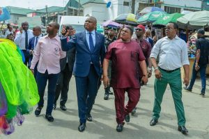 L-R: Ezenwa Oguadinma, Treasurer, Balogun Business Association (BBA); Nnamdi Okonkwo, Managing Director/Chief Executive Officer, Fidelity Bank Plc; Tony Obih, President, BBA; Emeka Igbosupolu, Vice President, BBA during the visit to the markets at BBA, ASPAMDA and APT to commiserate with the victims of the Lagos explosion on Monday.