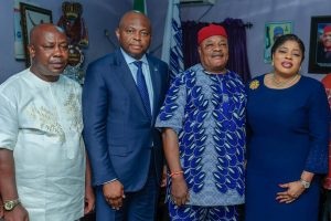 L-R: Eric Ilechukwu, President, Association of Progressive Traders (APT); Nnamdi Okonkwo, Managing Director/Chief Executive Officer, Fidelity Bank Plc; Nneka Onyeali-Ikpe, Executive Director, Lagos & South-West, Fidelity Bank Plc and Daniel Oforkansi, President, Auto Spare Parts and Machinery Dealers Association (ASPAMDA), during the visit to the markets to commiserate with the victims of the Lagos explosion on Monday.